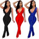 Women Trendy Clothing Deep V-neck Jumpsuits One-piece Casual Pants Sleeveless Sexy Club Wear