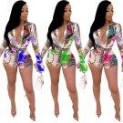 Fashion Women Floral Print Rompers Summer Novelty Streetwear Long Sleeve Autumn Lapel Bodysuit