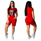 Solid Color Two Piece Sets Plus Size Tracksuits XXL Size Sequins Lips Streetwear