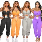 Lace-up Lady Sexy Tracksuits Sleeveless Solid Color Crop Tops Fashion Summer High Waist Streetwear