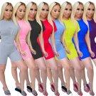 Women High Waist Tracksuits Slim Solid Color Streetwear Short Sleeve Summer Trendy Clothing