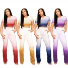Women Two Piece Pants Leisure Trendy Clothing Lady Casual Tracksuits Summer Gradient Streetwear