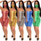 Boa Print Sexy Costume with Mask Scoop Neck Animal Bodysuits Fashion Python Printed Jumpsuit