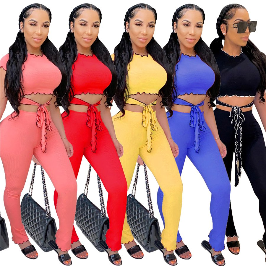 Women Two Piece Pants Cap Sleeve Ruffle Tops Casual Trendy Clothing Lady Leisure Tracksuits