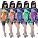 Women Sexy Floral Print Jumpsuit Night Club American Streetwear Short Sleeve High Waist Rompers