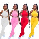 Fashion Halter Tank Tops Women Two Piece Pants Trendy Clothing Lady Casual Tracksuits