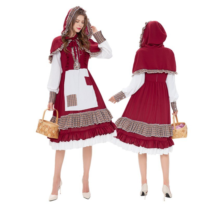 Little Red Riding Hood Costumes Mardi Gras Fairy Tale Fancy Dresses Classic Carnival Cosplay Outfits