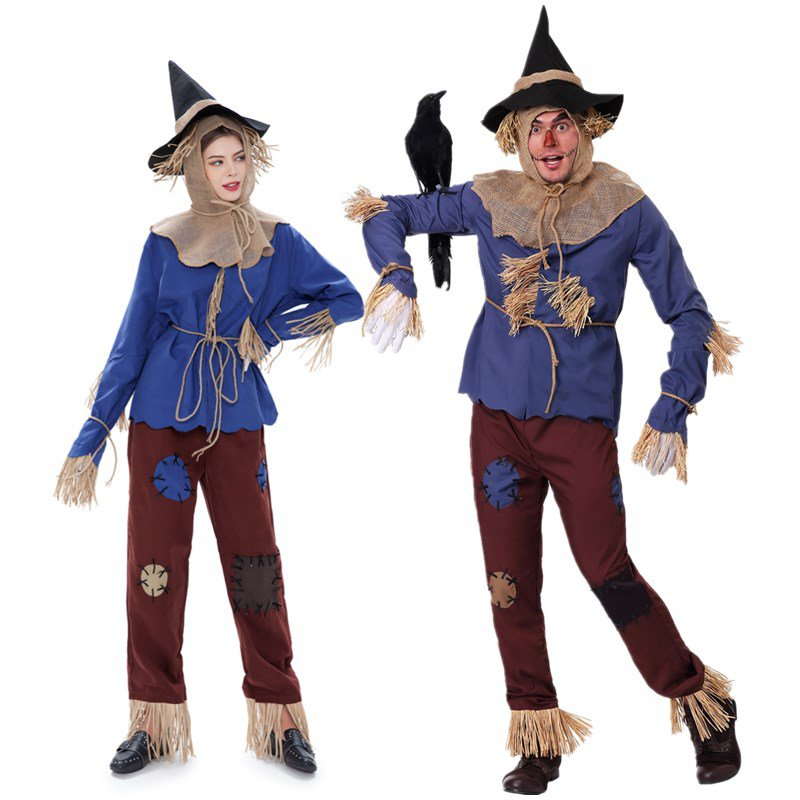 Male Medieval Scarecrow Costume Carnival Fairy Tale Theme Costume Mardi Gras Cosplay Clothing