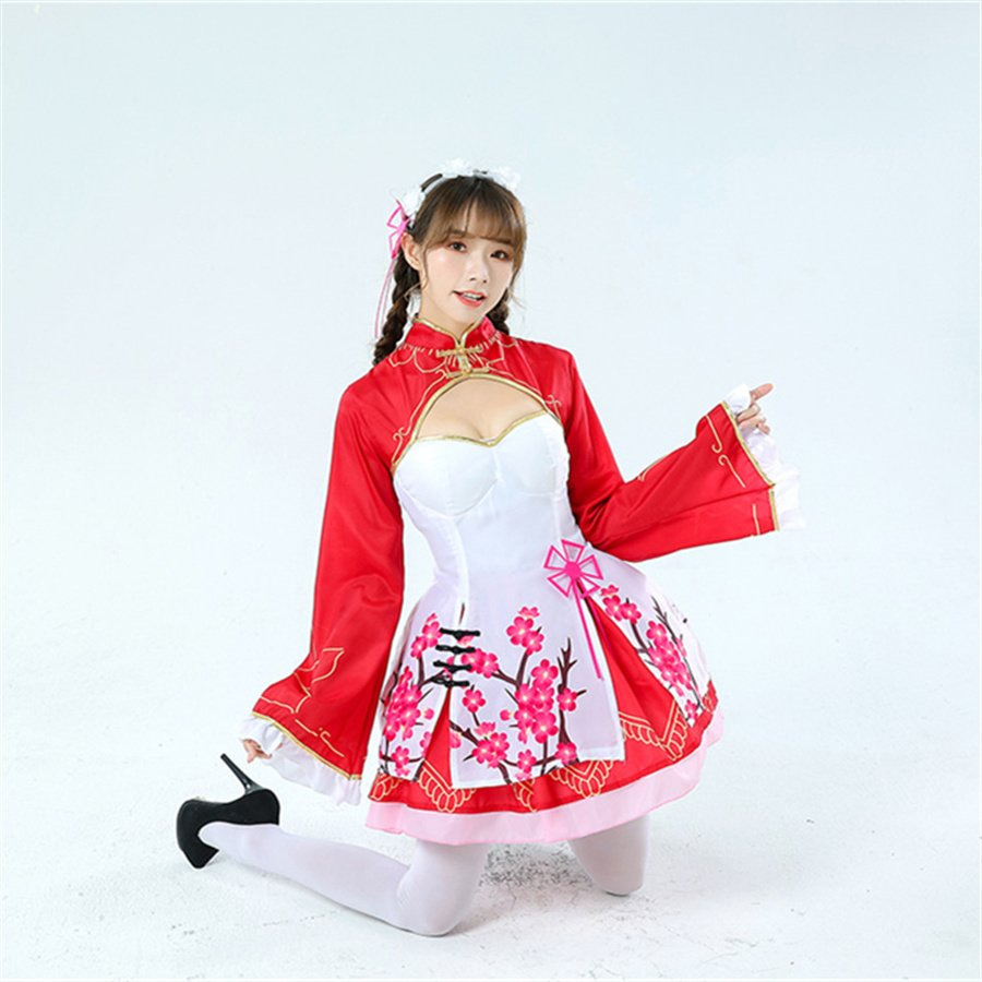 Japaness Anime Ram Theme Costume Rem Cheongsam Carnival Dress Women Mardi Gras COS Lolita Uniform