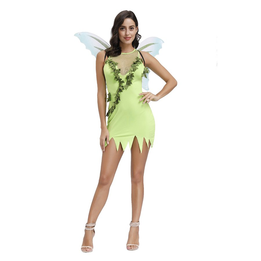 Halloween Nymph Theme Costume Carnival Fairy Tale Uniform American Anime Green Elf Dress