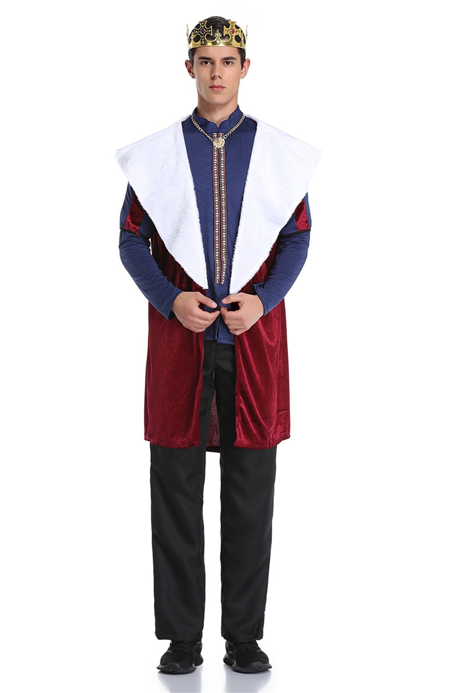 Retro Court Costume For Men Medieval King Robes Carnival Emperor Cosplay Uniform