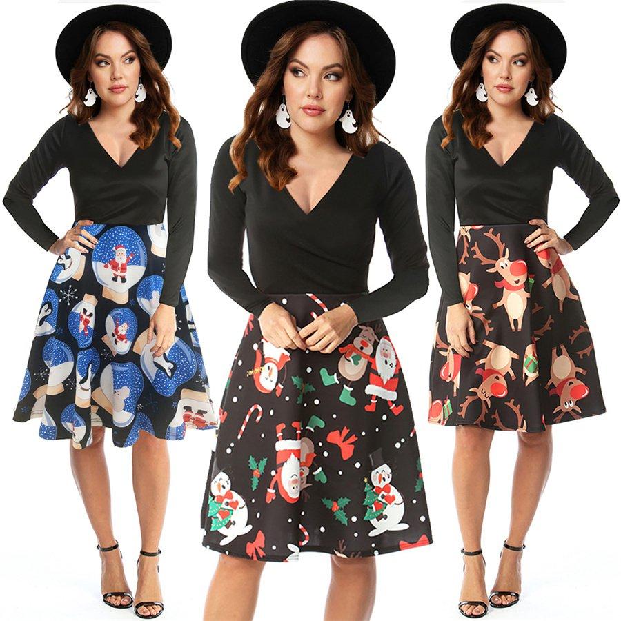 Christmas Style Casual Dresses V-neck Women Fashion Clothing