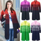 Winter Knitted Sweaters For Women Striped Long Sleeve Wool Coat