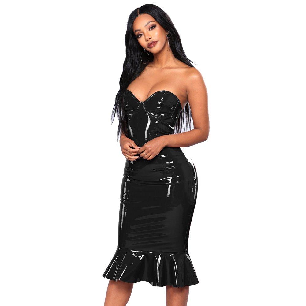 Faux Leather PVC Night Club Wear Spaghetti Straps Wetlook PU Midi Dress