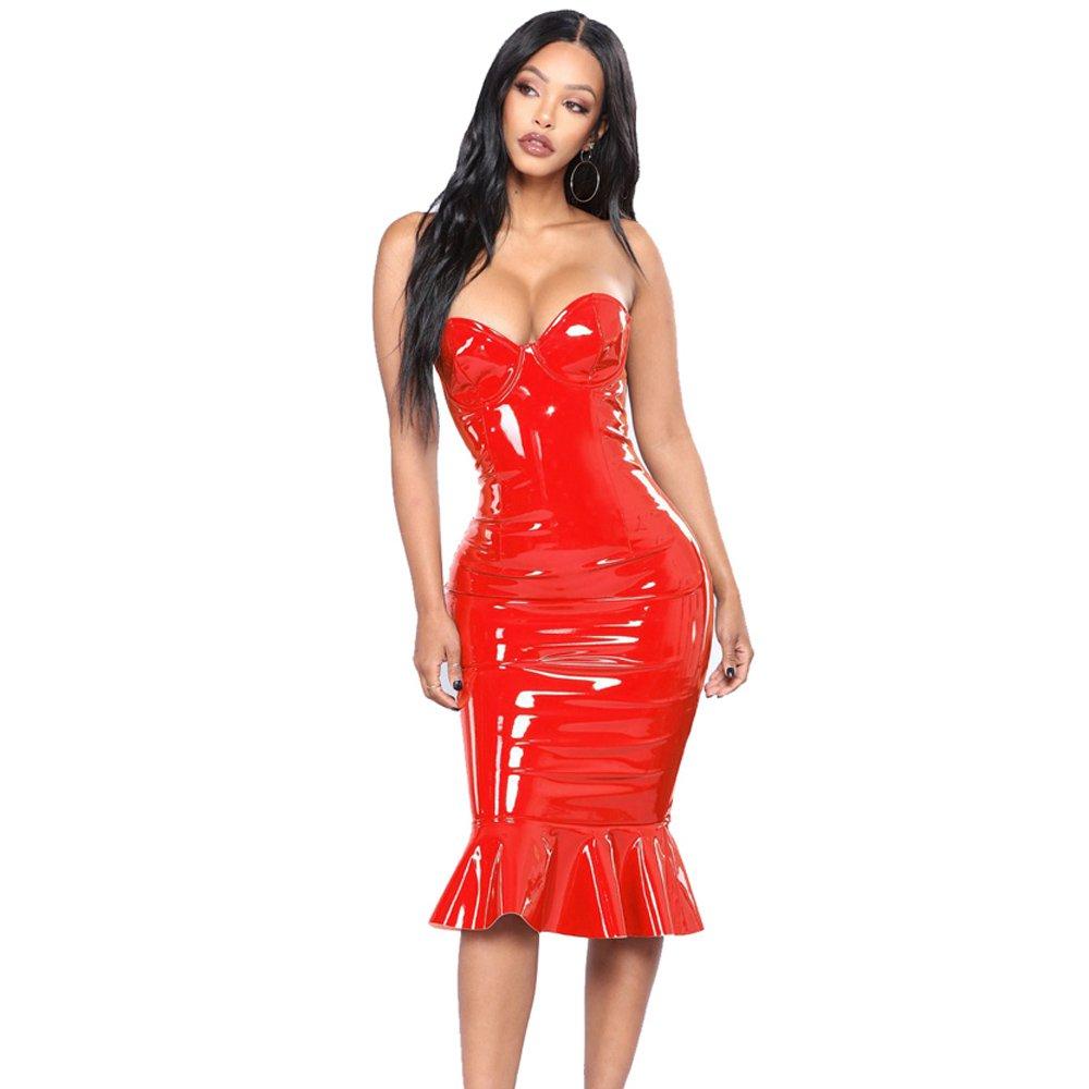 Plus Size 3XL Wetlook PU Midi Dress Faux Leather PVC Night Club Wear