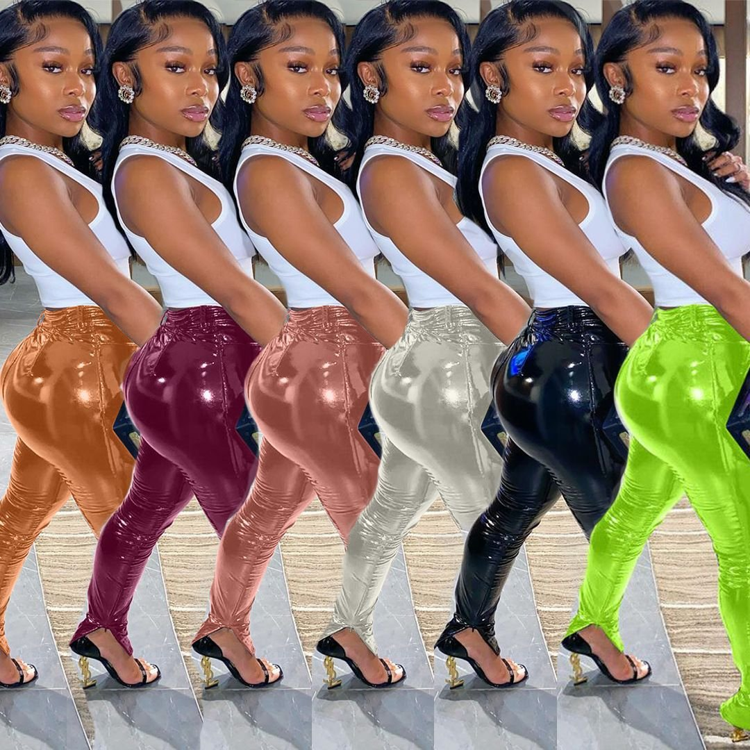 High Waist Latex Pants Full Length Faux Leather Tights Women Fashion Clothing