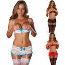 Women Lace Underwear Sexy Vallentine Day Bra Set with SKirt