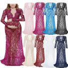 Women Pregnant Dress Sexy Deep V Neck Maternity Gown Lace See-through Elegant Long Dresses