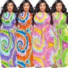 Fashion Long Sleeve Maxi Dresses Tie-dyed Plus Size Dress