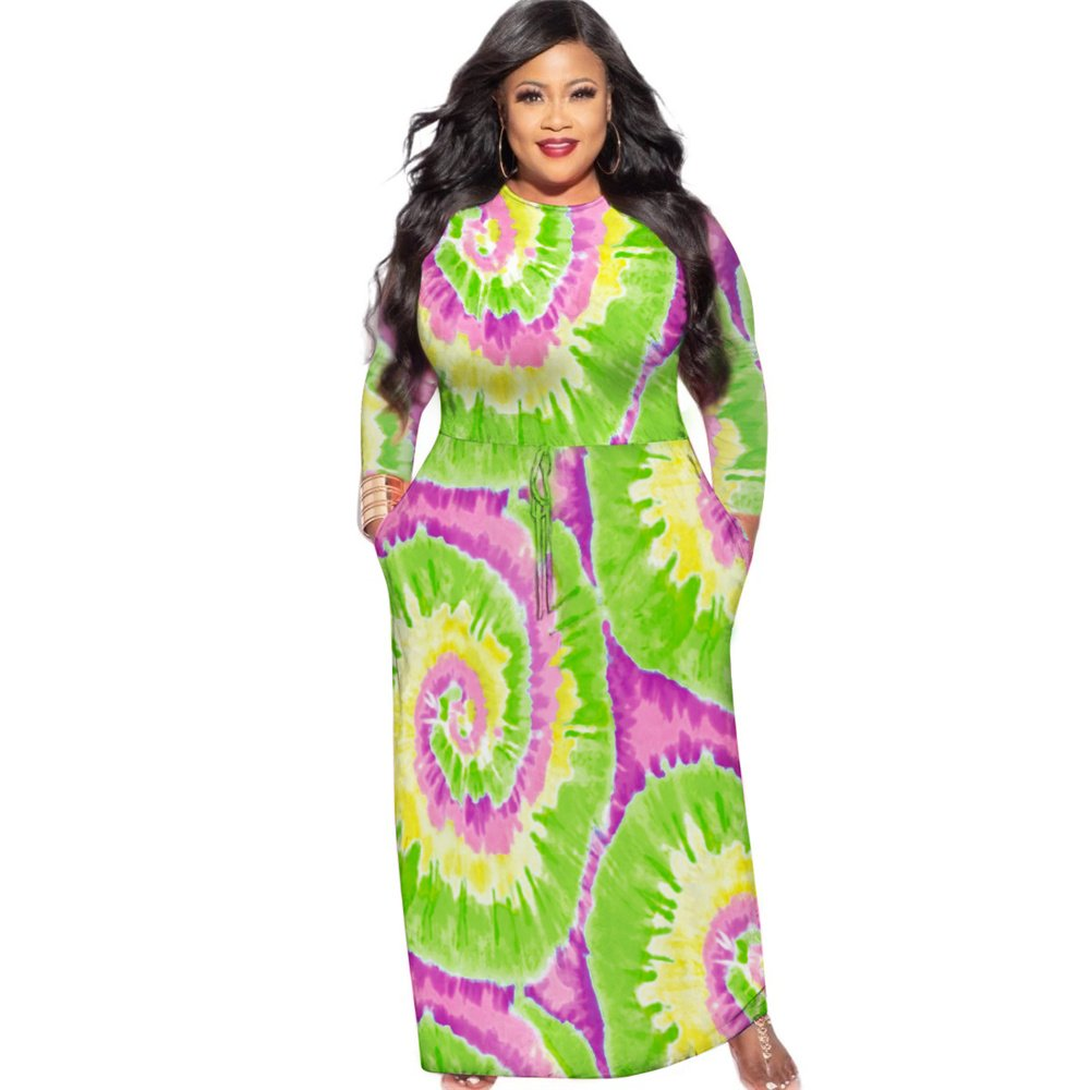 Fashion Long Sleeve Maxi Dresses Tie-dyed Women Plus Size Dress