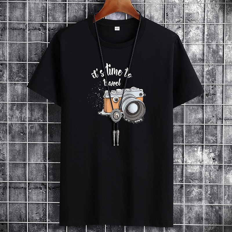Black Summer Fashion T-shirt for Men Plus Size Cotton Tops