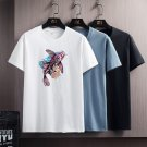 Chinese Style Koi Fish Cartoon T-shirt Trend Casual Cotton T Shirts Men's Summer Streetwear