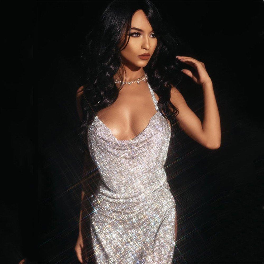 Silver Sequin Halter Club Dresses Women Sexy Backless Mini Dress PQ0213C