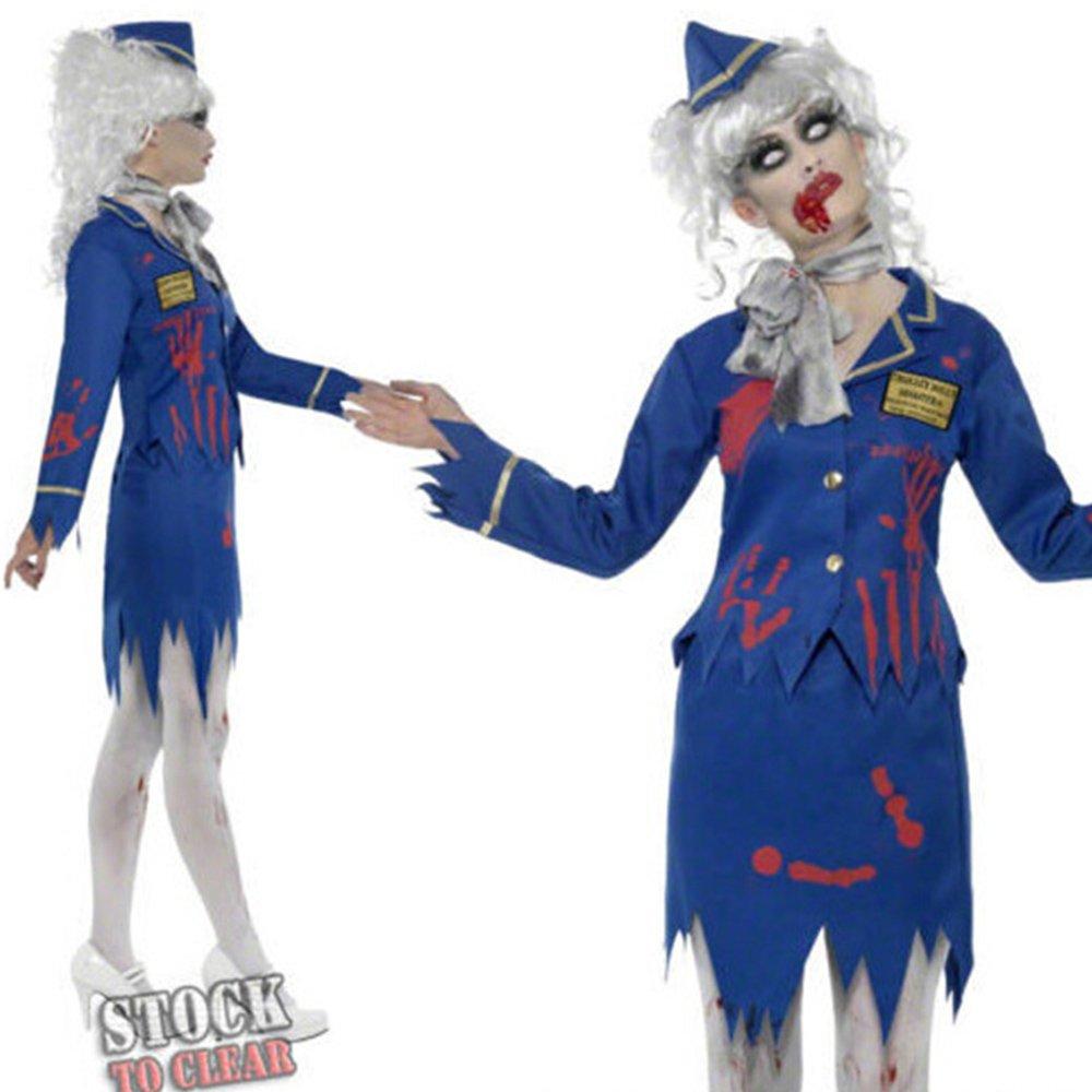 Airline Stewardess Costume Halloween Demon Zombie Costume PQ8088