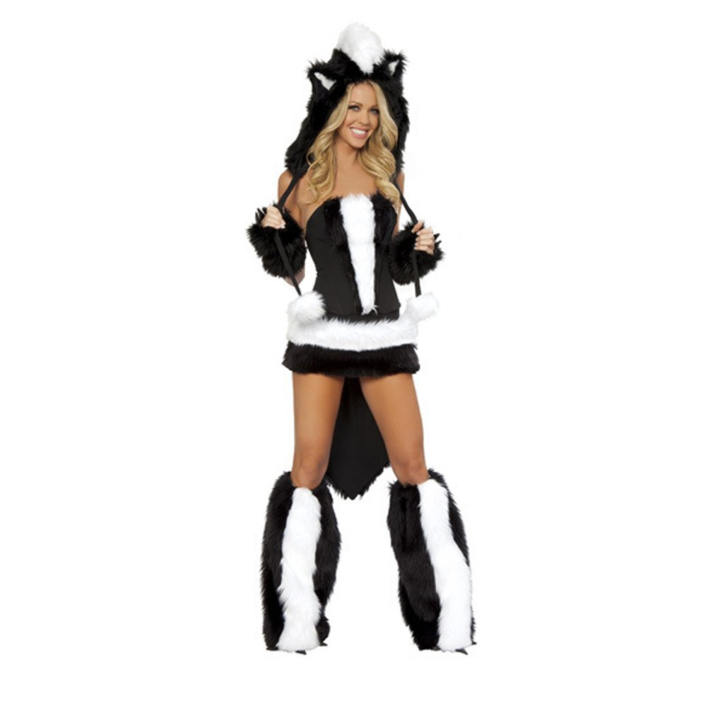 Sexy Cosplay Animal Costume Faux Fur Skunk Carnival Fancy Dress PQ80640