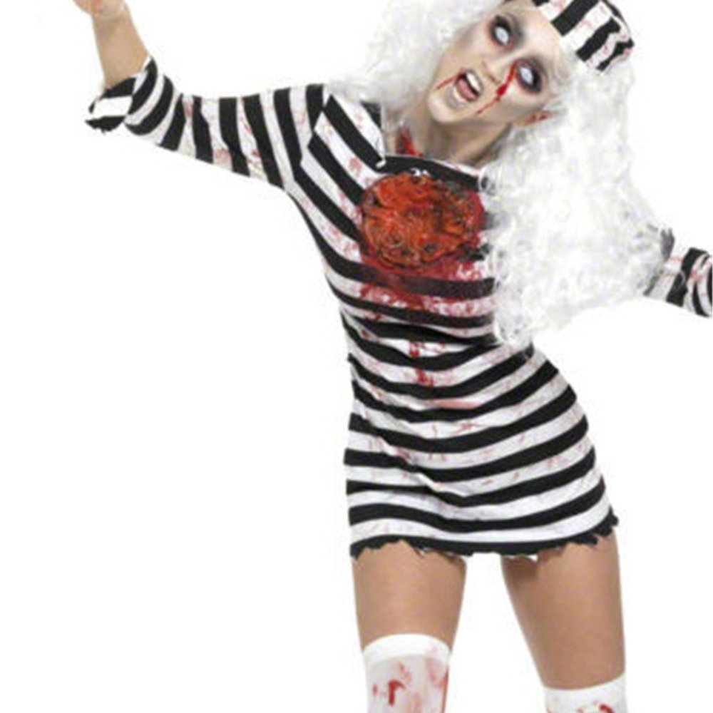 Halloween Criminal Fancy Dress Female Prisoner Cosplay Zombie Costume PQ80842