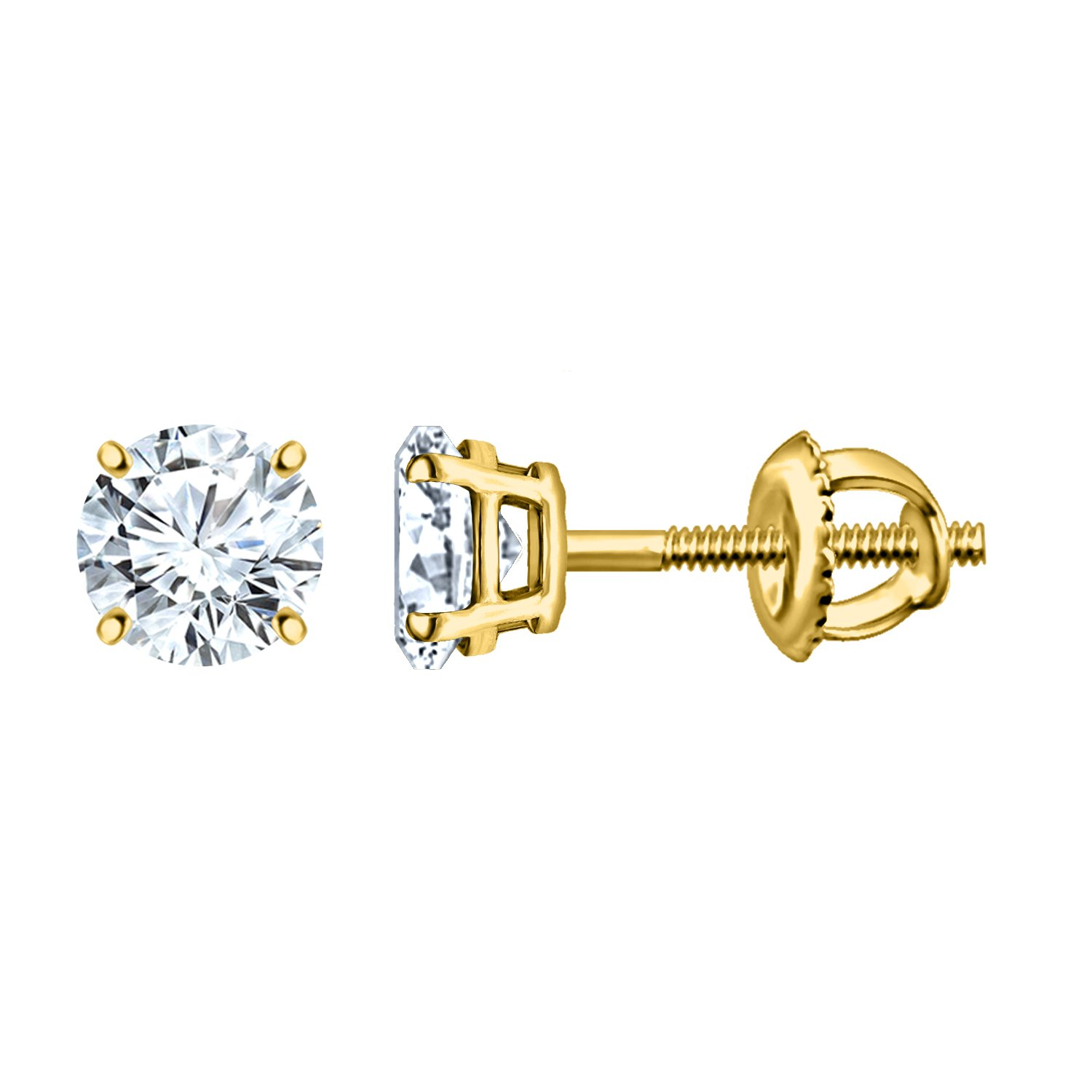 Silver Dew 925 Silver Delight Solitaire Earring For Ladies & Girls In Yellow Plated