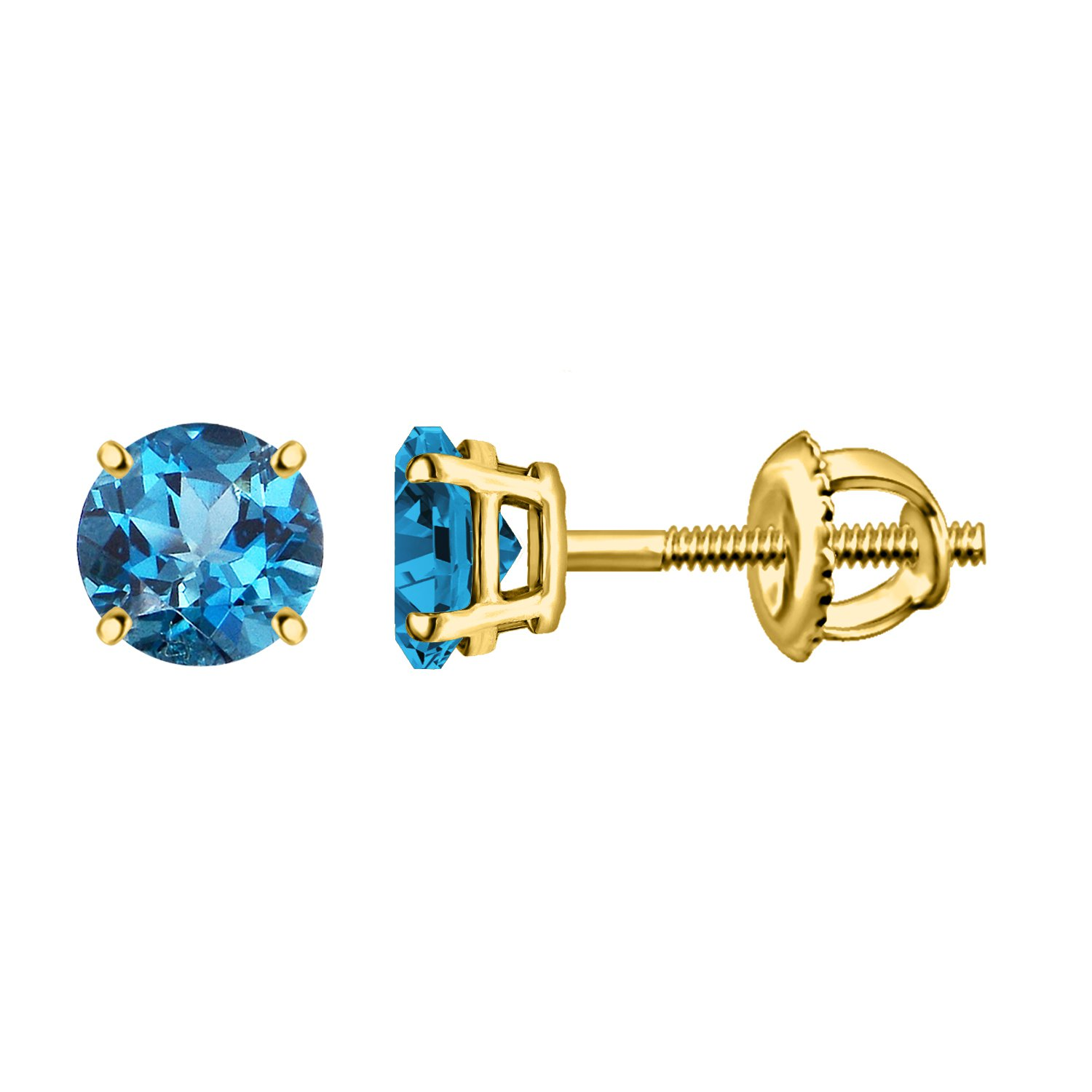 Silver Dew 925 Sterling Silver Yellow Plated Stud Earring In Blue Topaz For Women