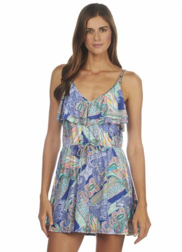 Kenneth Cole Reaction Ruffle Swim Dress  drawstring ocean, blue, medium