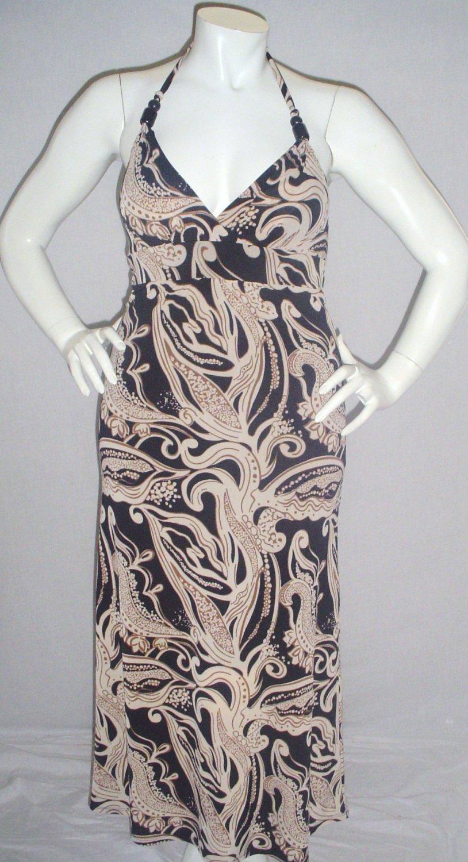 $99.95 New le Chateau black brown tan long dress, halter, maxi. Large