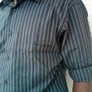 16.5- 34/35 Alfani men's dress shirt  I ron Free /Slim Fit DK- brown stripe - LARGE