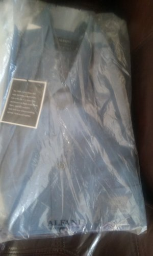 15-32/33 Alfani Men's cotton French Blue, point, iron free,  Med, Solid. med/drk