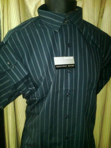 16/32-33 NWT Geoffrey Beene Wrinkle Free Dark Gray stripe Shirt. Large.