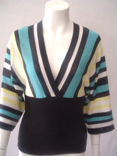 $36 Heart n soul Kimono style knit top. black/ teal/ yellow. Medium
