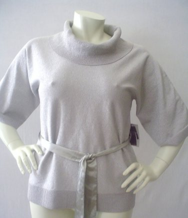 Cable and Gauge Womens silk knit top. silver luxuriuos cowl neck, lurex,  MEDIUM