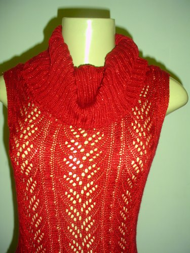 NWOT HOT KISS RED KNIT CROCTCHED SWEATER LUREX DRESS