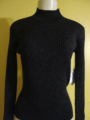 $43 A. Luxuriuos shimmer knit mock turtle neck sweater ribed top LARGE
