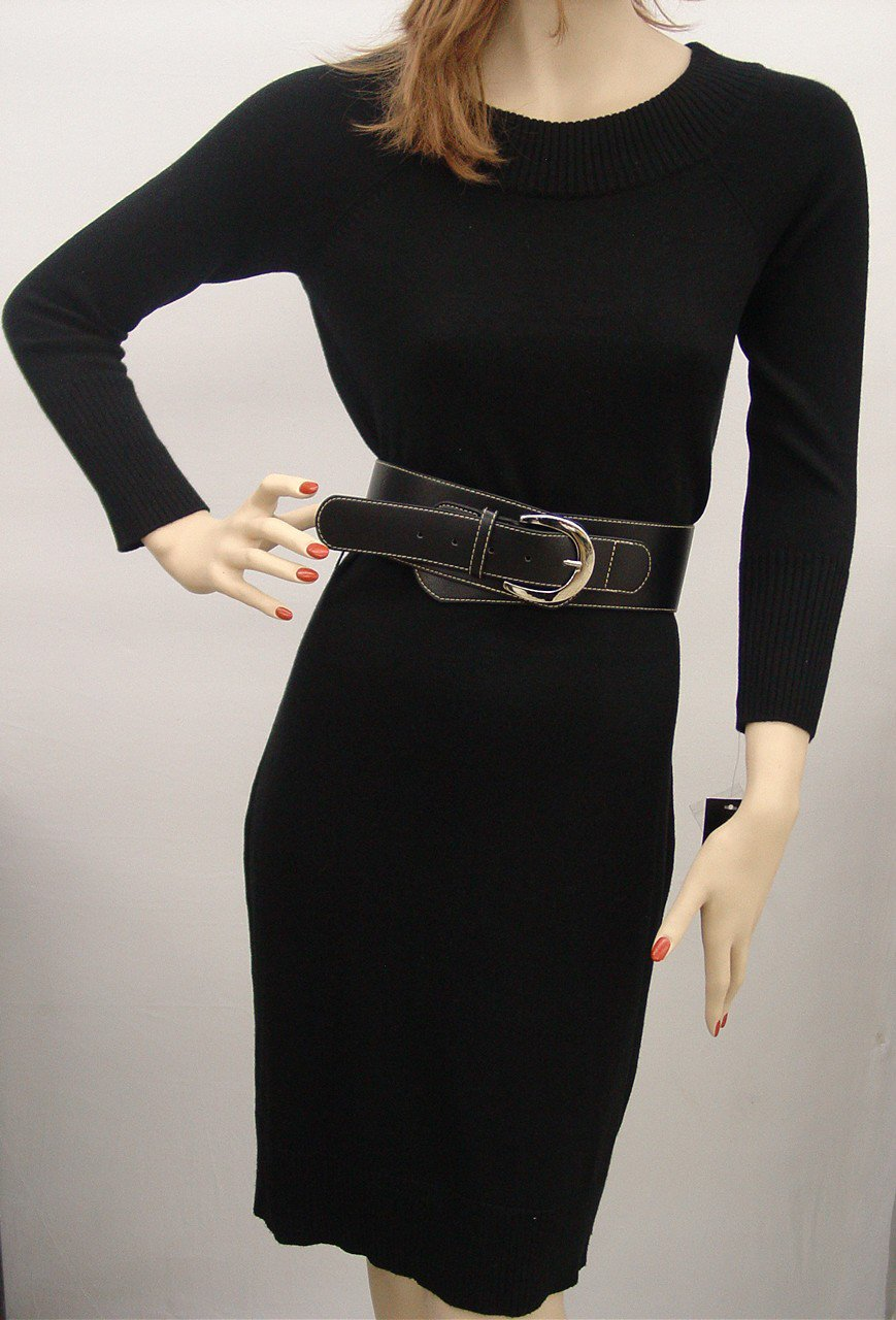 $119 INC SILK CASHMERE SWEATER CREW NECK DRESS SMALL BELTED BLACK