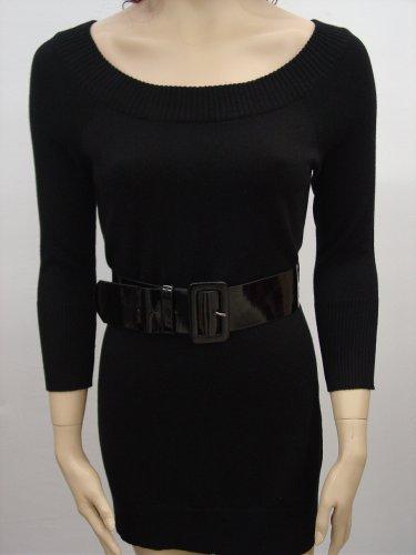 $79 INC SILK, ANGORA SWEATER CREW NECK MINI BELTED DRESS BLACK