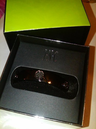 INC Hermatite pave dics bangle bracelet with sparkle boxed jewelry
