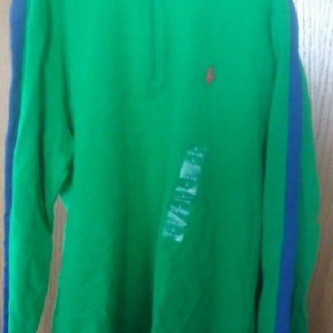 $55 ralph lauren half zip suede jersey  MOCK NECK TOP/ green boys large 14/6