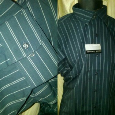 16.5./32-33 NWT Geoffrey Beene Wrinkle Free Dark Gray stripe Shirt. Large.