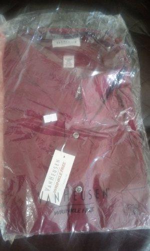NWT 17.5-32/33 Van Heusen Poplin Mens Wrinkle Free Dress shirt. Burgundy Red.