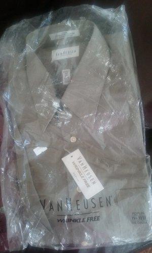NWT 17.5-34/35 Van Heusen Poplin Mens Wrinkle Free Dress shirt. Mocha Chino/Olive Green