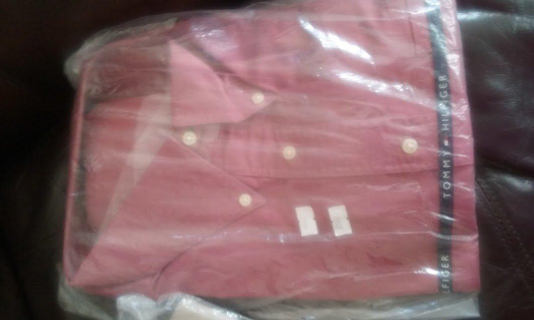 NWT 18-34/35 Tommy Hilfiger Button Down Dress shirt  cranberry red XXL