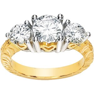 Two Tone Moissanite and Hearts Engagement Ring 2 ct tw*